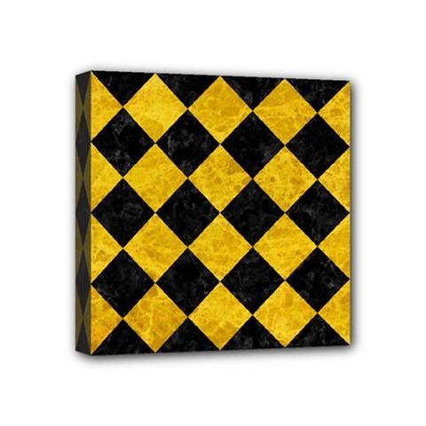 Square2 Black Marble & Yellow Marble Mini Canvas 4  X 4  (stretched) by trendistuff