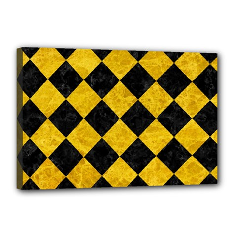 Square2 Black Marble & Yellow Marble Canvas 18  X 12  (stretched) by trendistuff