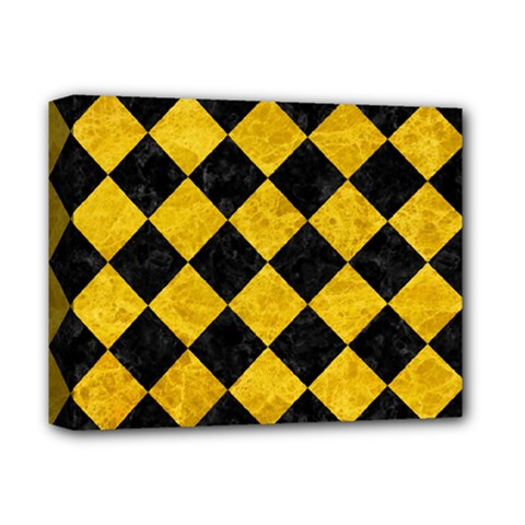 Square2 Black Marble & Yellow Marble Deluxe Canvas 14  X 11  (stretched)