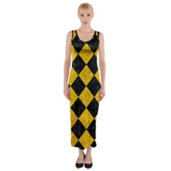 Square2 Black Marble & Yellow Marble Fitted Maxi Dress