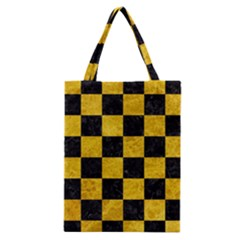 Square1 Black Marble & Yellow Marble Classic Tote Bag by trendistuff