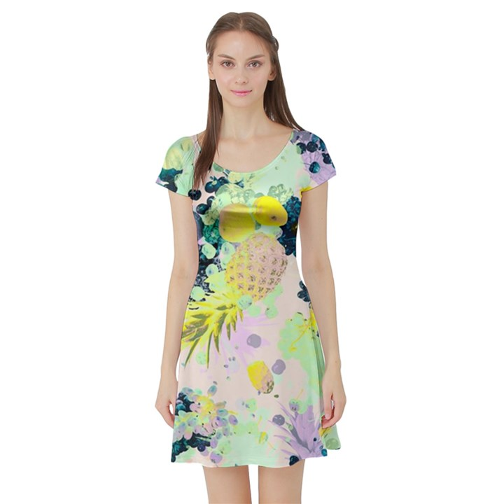 Colorful paint Short Sleeve Skater Dress