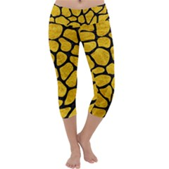 Skin1 Black Marble & Yellow Marble Capri Yoga Leggings