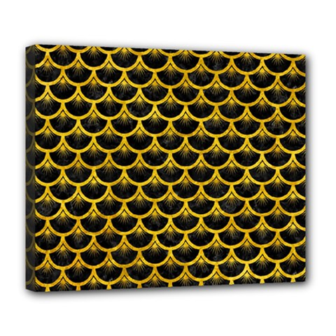 Scales3 Black Marble & Yellow Marble Deluxe Canvas 24  X 20  (stretched) by trendistuff