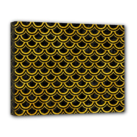 Scales2 Black Marble & Yellow Marble Canvas 14  X 11  (stretched) by trendistuff