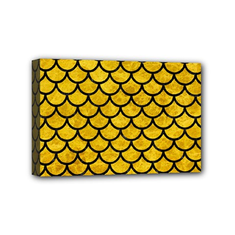 Scales1 Black Marble & Yellow Marble (r) Mini Canvas 6  X 4  (stretched) by trendistuff