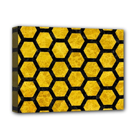 Hexagon2 Black Marble & Yellow Marble (r) Deluxe Canvas 16  X 12  (stretched)  by trendistuff