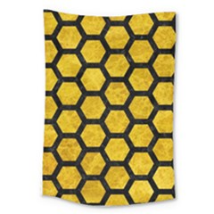 Hexagon2 Black Marble & Yellow Marble (r) Large Tapestry by trendistuff