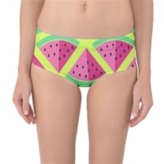 Lovely Watermelon Mid-waist Bikini Bottoms by Brittlevirginclothing