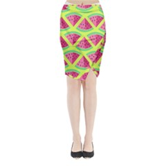 Lovely Watermelon Midi Wrap Pencil Skirt by Brittlevirginclothing
