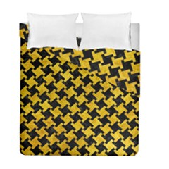 Houndstooth2 Black Marble & Yellow Marble Duvet Cover Double Side (full/ Double Size) by trendistuff