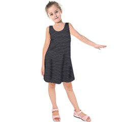 Black Pattern Sand Surface Texture Kids  Sleeveless Dress by Amaryn4rt