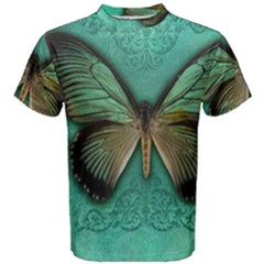 Butterfly Background Vintage Old Grunge Men s Cotton Tee