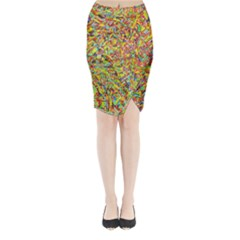 Canvas Acrylic Design Color Midi Wrap Pencil Skirt