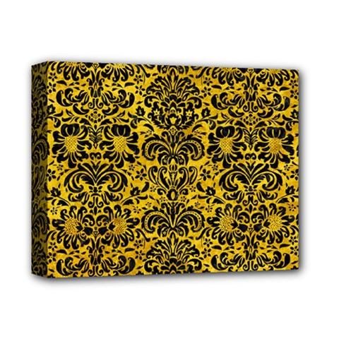Damask2 Black Marble & Yellow Marble (r) Deluxe Canvas 14  X 11  (stretched) by trendistuff