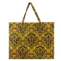 Damask1 Black Marble & Yellow Marble (r) Zipper Large Tote Bag by trendistuff