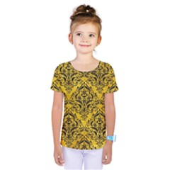Damask1 Black Marble & Yellow Marble (r) Kids  One Piece Tee