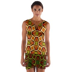 Geometry Shape Retro Trendy Symbol Wrap Front Bodycon Dress by Amaryn4rt