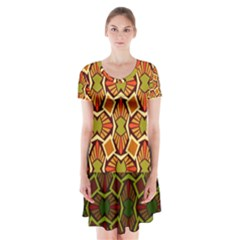 Geometry Shape Retro Trendy Symbol Short Sleeve V-neck Flare Dress by Amaryn4rt