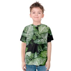 Green Leaves Nature Pattern Plant Kids  Cotton Tee