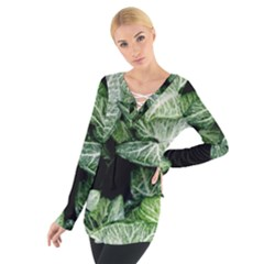 Green Leaves Nature Pattern Plant Women s Tie Up Tee