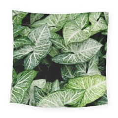 Green Leaves Nature Pattern Plant Square Tapestry (large)