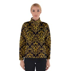 Damask1 Black Marble & Yellow Marble Winter Jacket