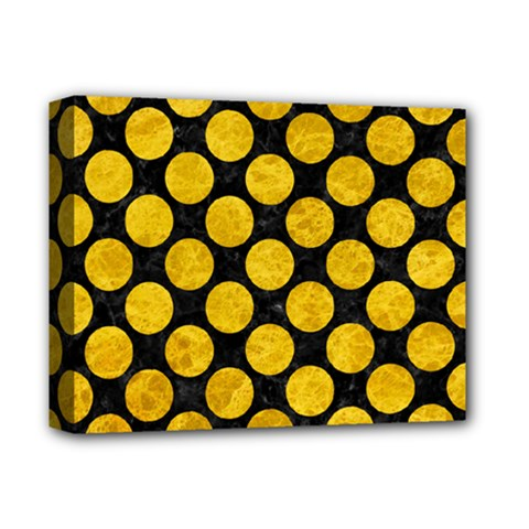 Circles2 Black Marble & Yellow Marble Deluxe Canvas 14  X 11  (stretched) by trendistuff