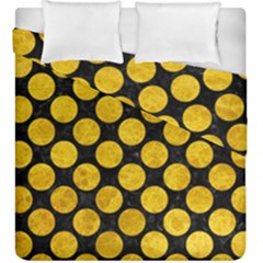 Circles2 Black Marble & Yellow Marble Duvet Cover Double Side (king Size) by trendistuff