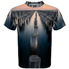 Logs Nature Pattern Pillars Shadow Men s Cotton Tee