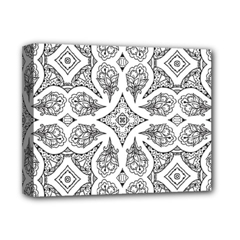 Mandala Line Art Black And White Deluxe Canvas 14  X 11