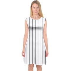 White And Black Lines Capsleeve Midi Dress by Valentinaart