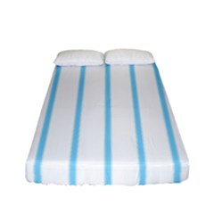 Blue Lines Fitted Sheet (full/ Double Size) by Valentinaart