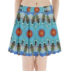 Pattern Blue Brown Background Pleated Mini Skirt