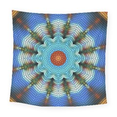 Pattern Blue Brown Background Square Tapestry (large)