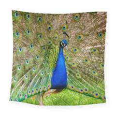 Peacock Animal Photography Beautiful Square Tapestry (large)