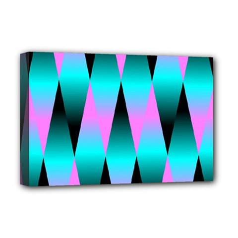 Shiny Decorative Geometric Aqua Deluxe Canvas 18  X 12   by Amaryn4rt