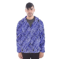 Texture Blue Neon Brick Diagonal Hooded Wind Breaker (men)