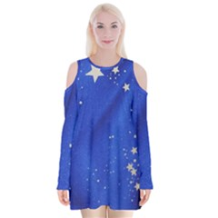 The Substance Blue Fabric Stars Velvet Long Sleeve Shoulder Cutout Dress by Amaryn4rt