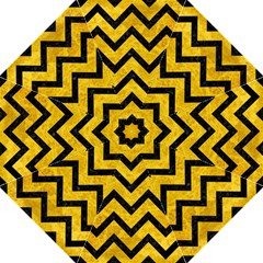 Chevron9 Black Marble & Yellow Marble (r) Hook Handle Umbrella (large) by trendistuff