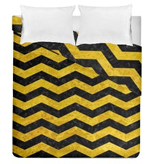 Chevron3 Black Marble & Yellow Marble Duvet Cover Double Side (queen Size)
