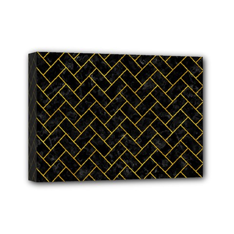 Brick2 Black Marble & Yellow Marble Mini Canvas 7  X 5  (stretched) by trendistuff