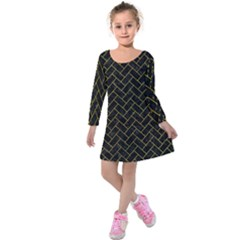 Brick2 Black Marble & Yellow Marble Kids  Long Sleeve Velvet Dress by trendistuff