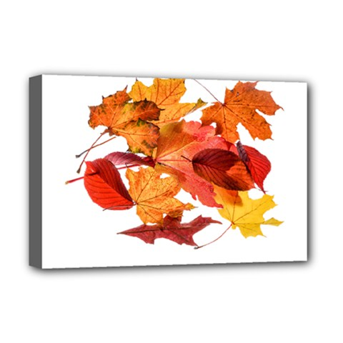 Autumn Leaves Leaf Transparent Deluxe Canvas 18  X 12   by Amaryn4rt