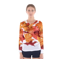 Autumn Leaves Leaf Transparent Women s Long Sleeve Tee