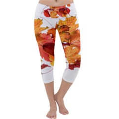 Autumn Leaves Leaf Transparent Capri Yoga Leggings by Amaryn4rt