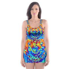 Background Color Game Pattern Skater Dress Swimsuit by Amaryn4rt