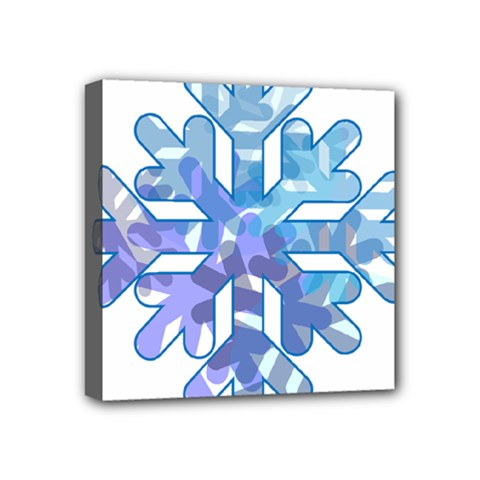 Snowflake Blue Snow Snowfall Mini Canvas 4  X 4  by Amaryn4rt