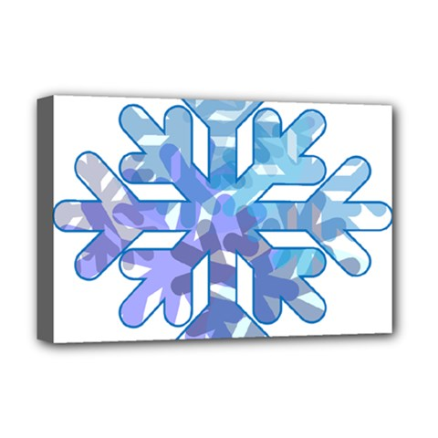 Snowflake Blue Snow Snowfall Deluxe Canvas 18  X 12   by Amaryn4rt