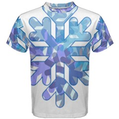Snowflake Blue Snow Snowfall Men s Cotton Tee